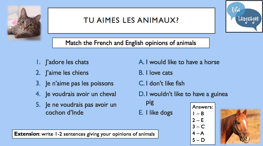 Les animaux - a Year 7 lesson plan with new GCSE-style